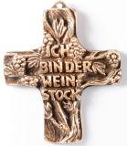 Bronzekreuz - Ich bin der Weinstock