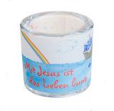 Windlicht - Mit Jesus ist das Leben bunt
