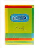 Kommunionkarte - 5er Set Danksagungskarten und blauer Fisch