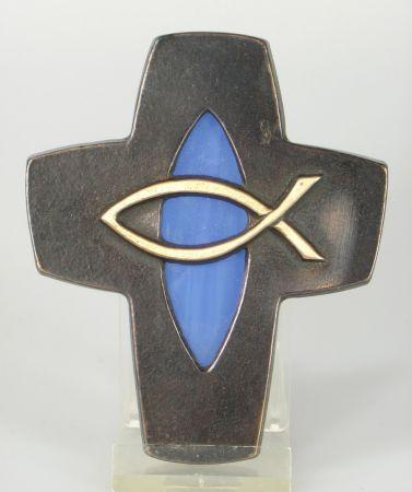Bronzekreuz - Fisch & Blau