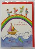 Kommunionkarte - Kinder auf Regenbogen