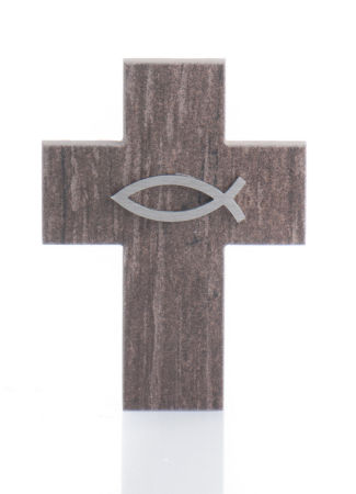Keramikkreuz - Holzoptik & Fisch