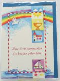 Kommunionkarte - Regenbogen & Wolken