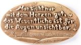 Bronzeplakette - Man sieht nur mit dem Herzen gut...