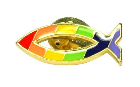 Anstecker - Fisch & Regenbogen