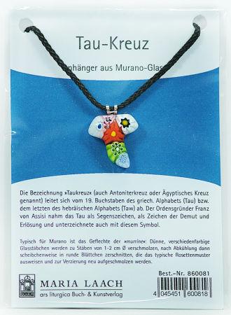 Halskette - Taukreuz & Muranoglas