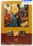 Weihnachtskarte - Anbetung des Kindes & Weinrot