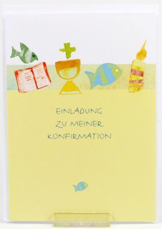 Konfirmationskarten - Einladung & Fisch - 5 Stk