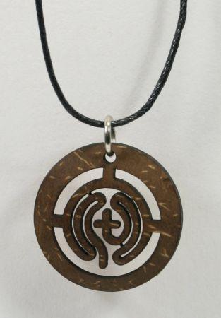 Halskette - Labyrinth & Kokosschale