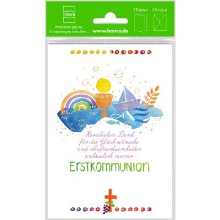 Danksagungskarte zur Kommunion - Segelschiff & 5er Set