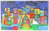 Weihnachtskarte - Farbige Häuser