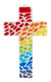 Glaskreuz - Bunte Regentropfen - Kreuze,Nach Material,Glaskreuze,Regenbogen Motiv