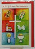 Kommunionkarte - Weißes Kreuz & Symbole