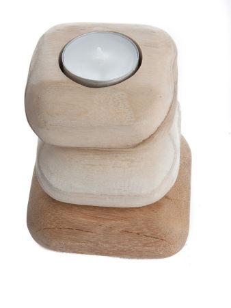 Teelichthalter - 3 Steine & Holz