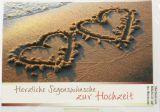 Hochzeitskarte - Zwei Herzen am Strand