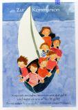 Kommunionkarte - Segelschiff & Kinder