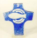 Glaskreuz - Fisch & Blau