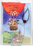 Kommunionkarte - Heißluftballon & Herz-Anhänger