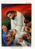 Kommunionkarte - Jesus verteilt das Brot