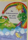 Kommunionkarte - Wasser, Fisch & Regenbogen