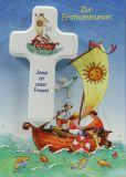 Kommunionkarte - Jesus ist unser Freund & Kinderkreuz - Karten,Religiöse Anlässe,Kommunionkarten,Karte & Kleinigkeit,Karte & Kreuz