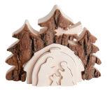 Blockkrippe - Tannen mit Krippe & Puzzle - Krippen,Blockkrippen,Holz
