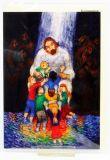 Kommunionkarte - Jesus umringt von Kindern