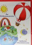 Kommunionkarte - Sonne & Heißluftballon