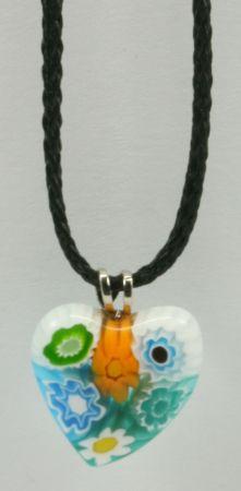 Halskette - Herz & Muranoglas