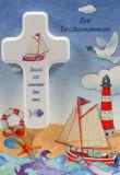 Kommunionkarte - Segelschiff & Kinderkreuz