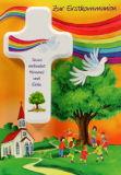 Kommunionkarte - Regenbogen & Kinderkreuz