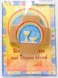 Kommunionkarte - Brot & Wein & Holzkreuz