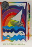 Kommunionkarte - Segelschiff & Rosenkranz