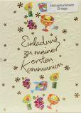 Kommunionkarten - Einladung & Blumenmuster - 5er Set