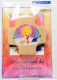 Kommunionkarte - Geheimmis des Glaubens & Holzkreuz