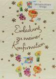 Konfirmationskarten - Einladung & Blumenmuster - 5er Set