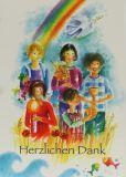 Kommunionkarte - Danksagung & Kinder u. Regenbogen