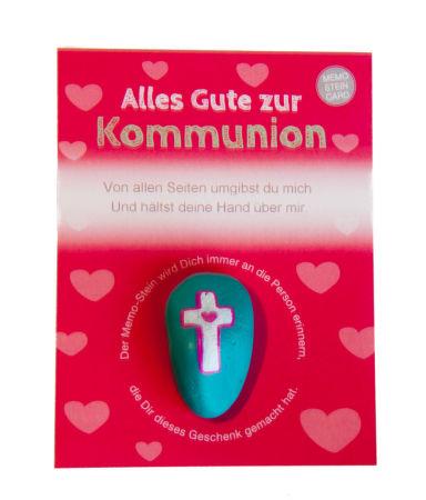 Handschmeichler zur Erstkommunion - Memo-Stein und Kreuz