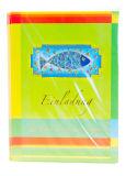 Kommunionkarte - 5er Set Einladungskarten und blauer  Fisch