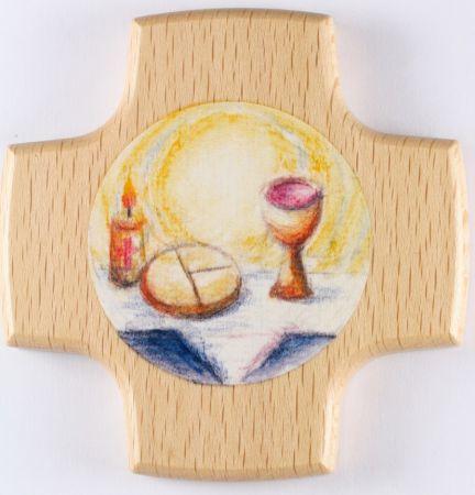 Kommunionkreuz - Kerze, Brot & Wein