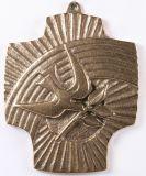 Bronzeplakette - Regenbogen & Taube