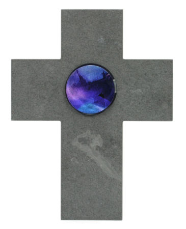 Schieferkreuz - Glasstein & Blau