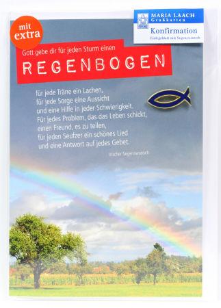 Konfirmationkarte - Regenbogen Fisch Anstecker