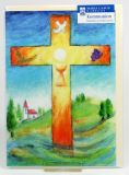 Kommunionkarte - Kreuz & Landschaft