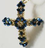 Vergoldete Halskette - Geöffnetes Herz & Gold- Blau