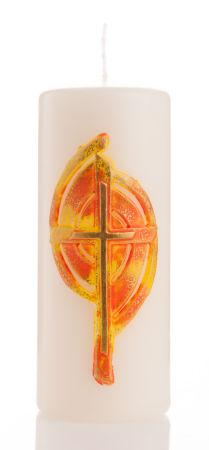 Osterkerze - Gold-Gelbes Kreuz