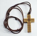 Lederband - Holzkreuz Streifen
