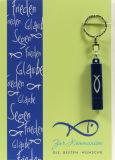 Kommunionkarte - Blauer Fisch & Taschenlampe